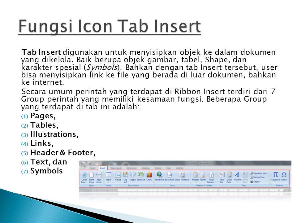 Fungsi Icon Tab Insert