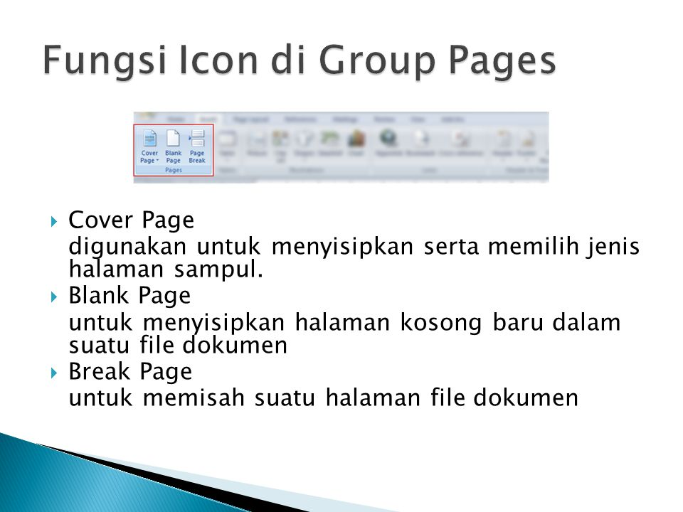 Fungsi Icon di Group Pages