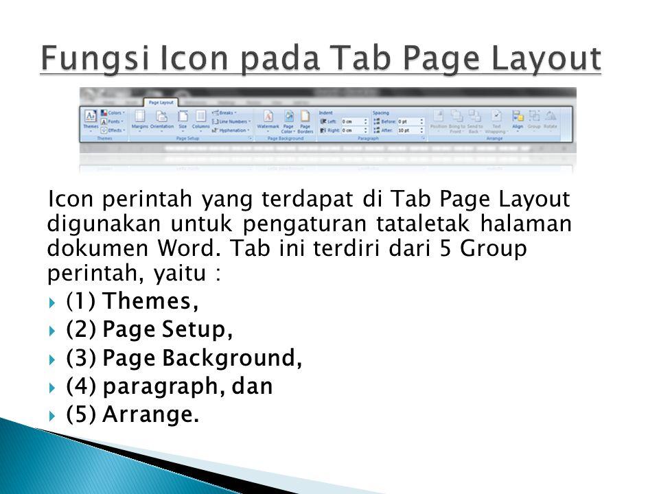 Fungsi Icon pada Tab Page Layout