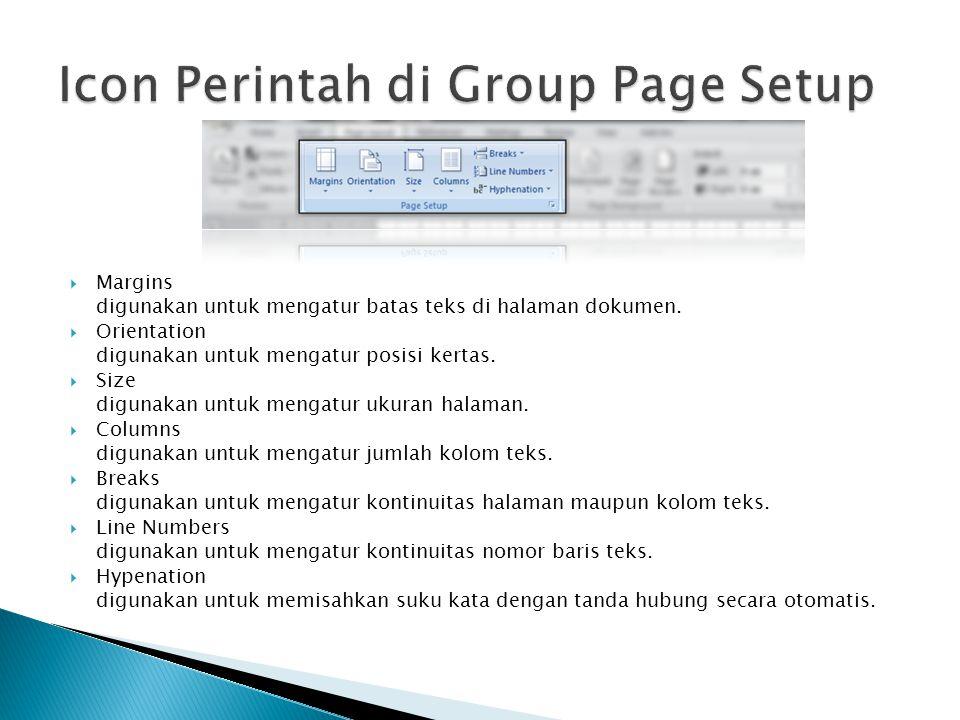 Icon Perintah di Group Page Setup