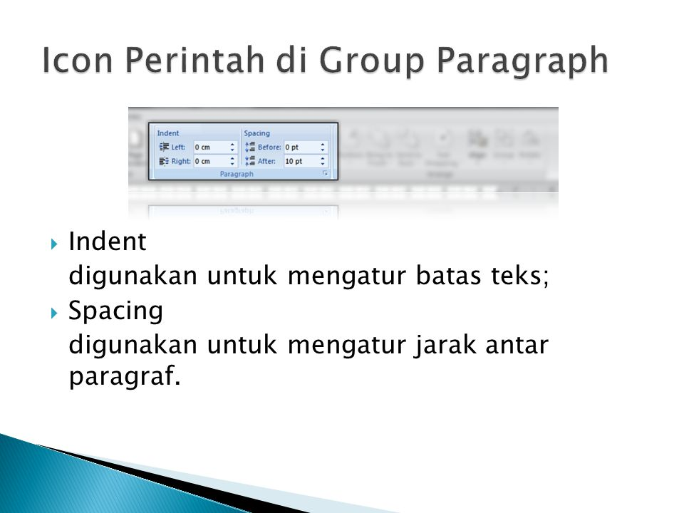 Icon Perintah di Group Paragraph