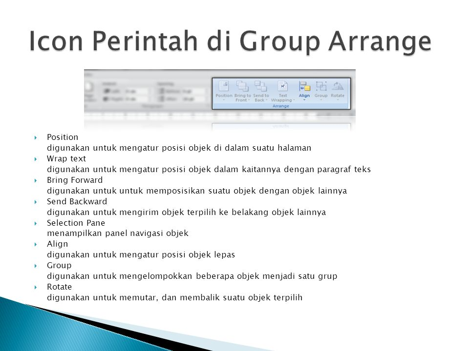 Icon Perintah di Group Arrange