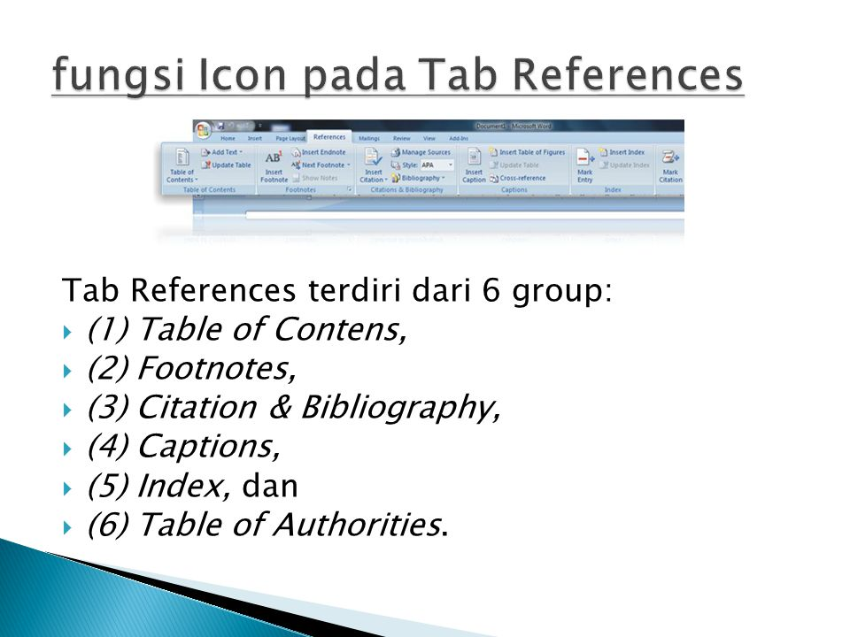 fungsi Icon pada Tab References