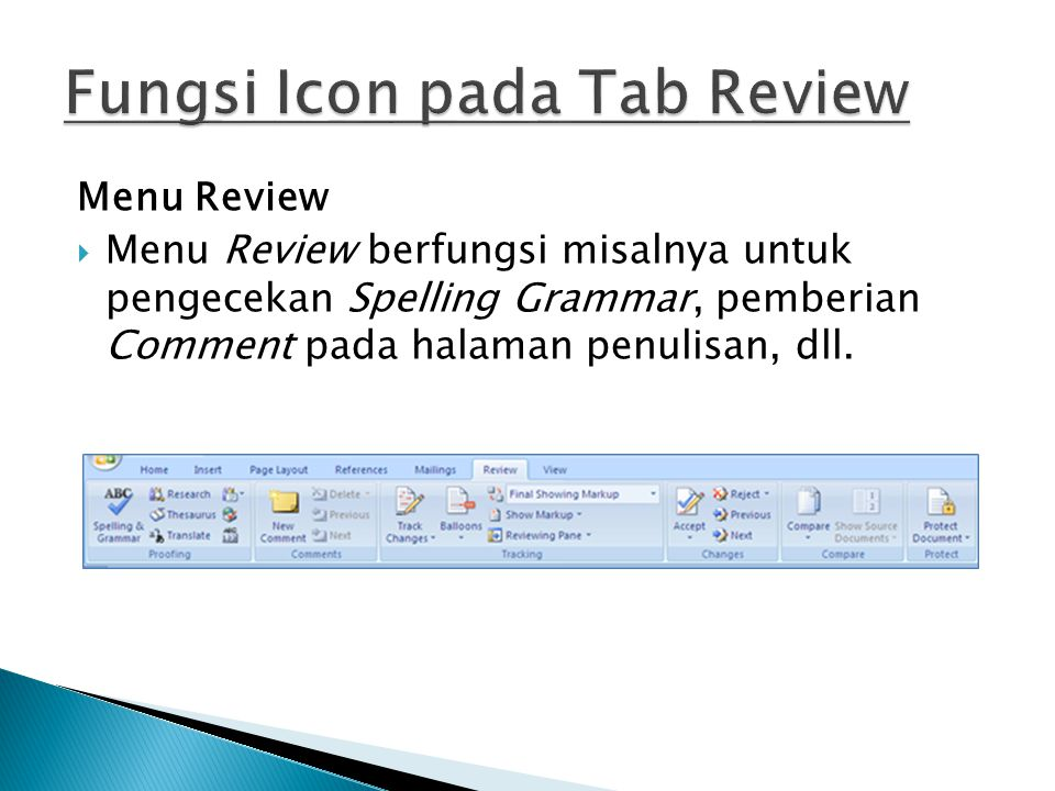 Fungsi Icon pada Tab Review
