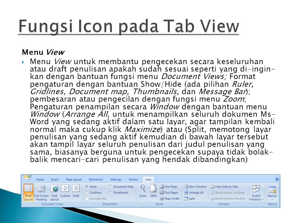 Fungsi Icon pada Tab View