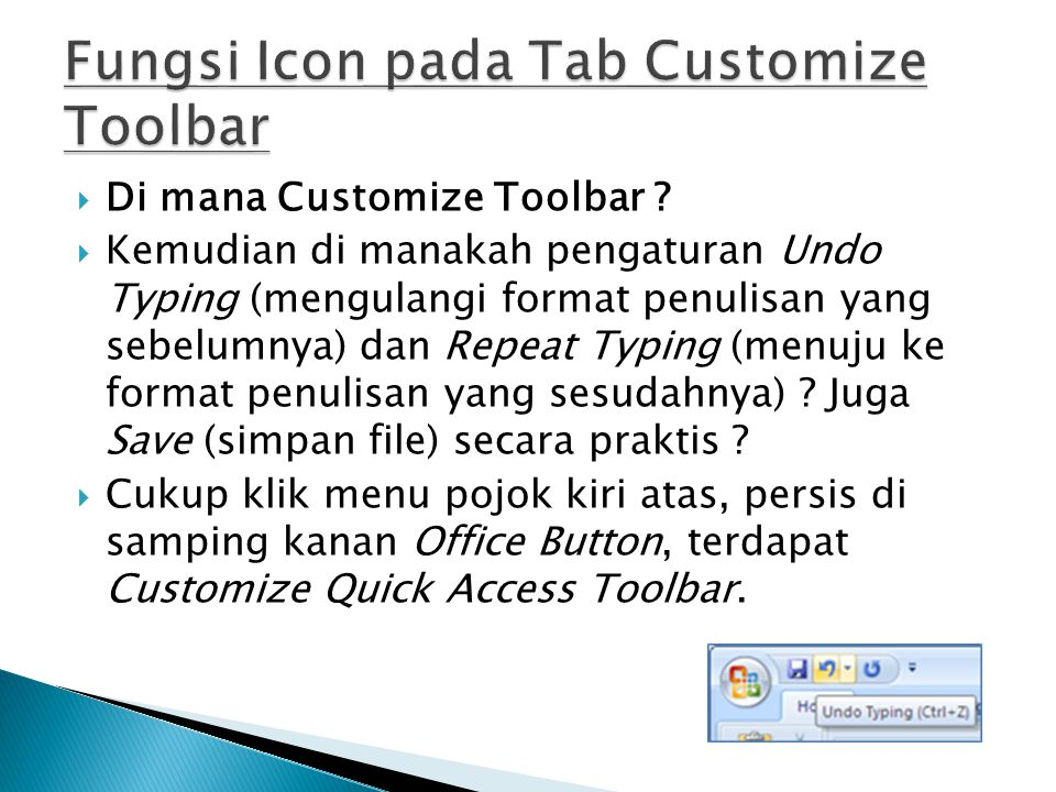 Fungsi Icon pada Tab Customize Toolbar