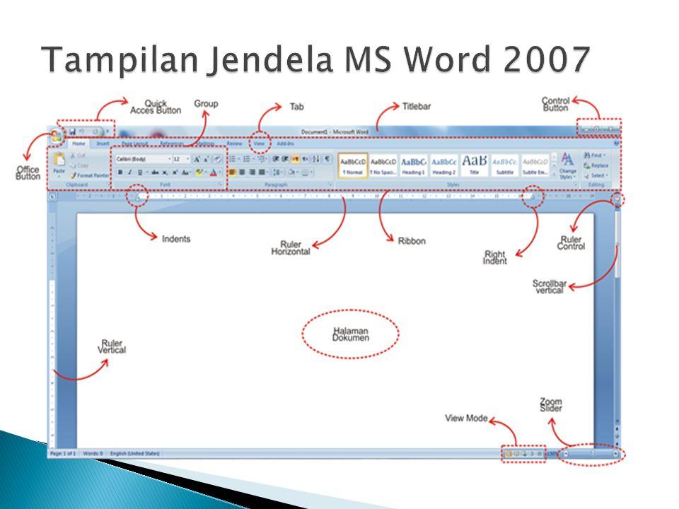 Tampilan Jendela MS Word 2007
