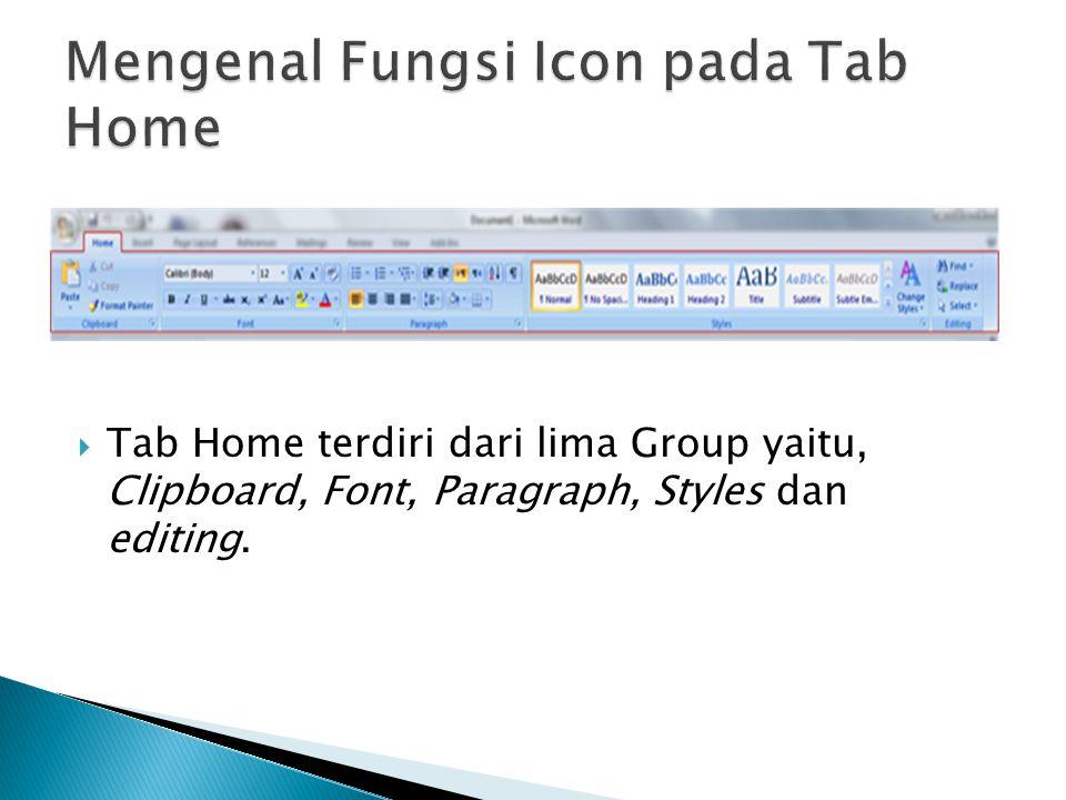 Mengenal Fungsi Icon pada Tab Home