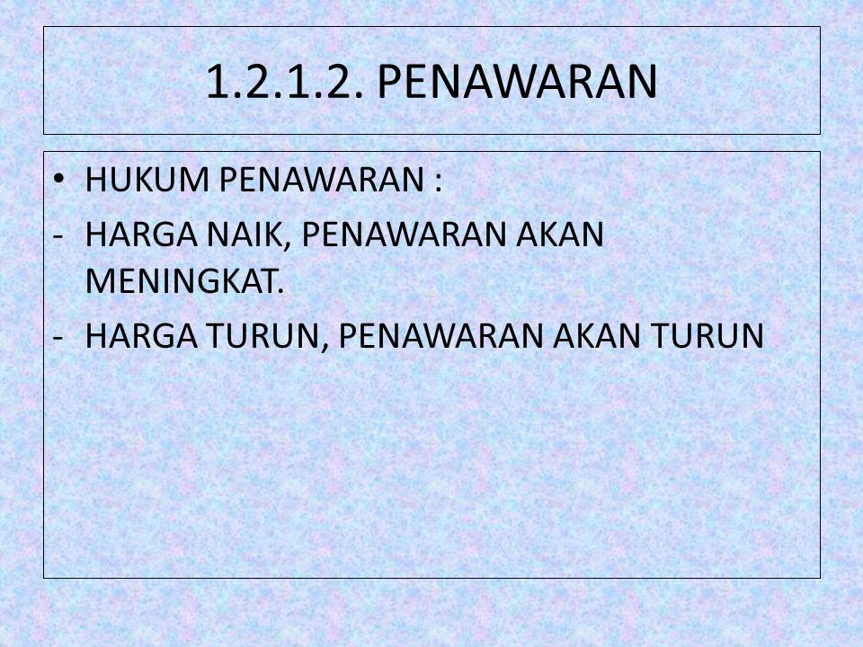 1.2.1.2. PENAWARAN HUKUM PENAWARAN :