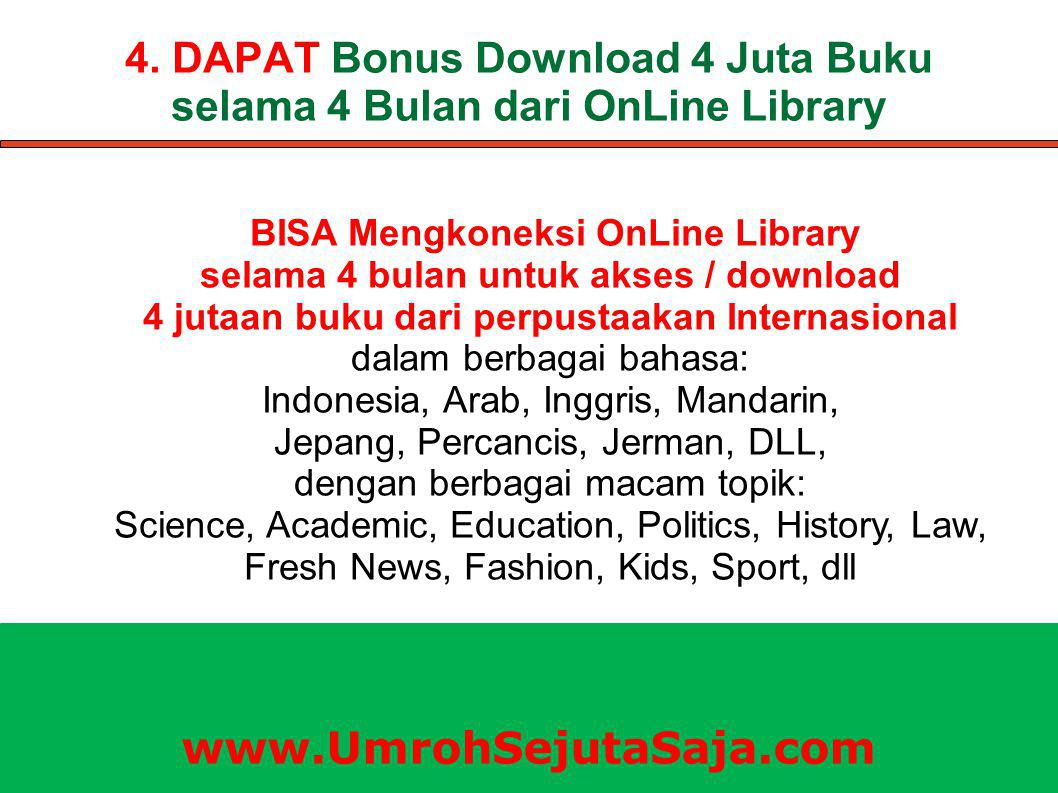 4. DAPAT Bonus Download 4 Juta Buku selama 4 Bulan dari OnLine Library