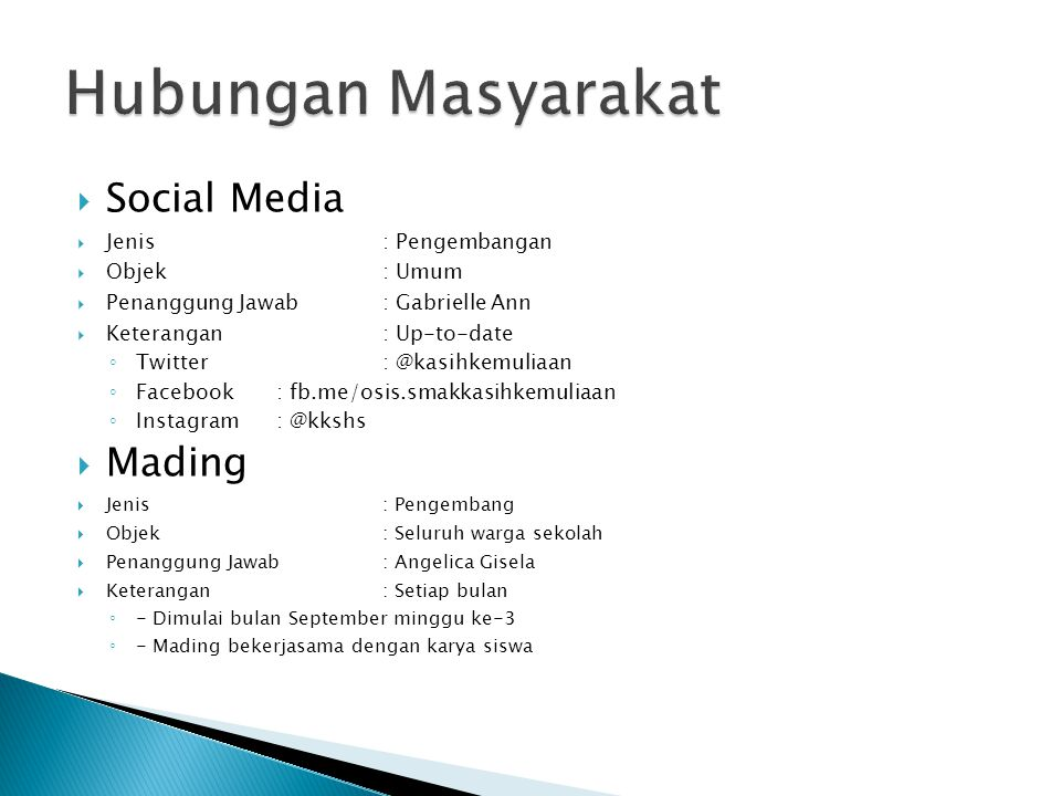 Hubungan Masyarakat Social Media Mading Jenis : Pengembangan