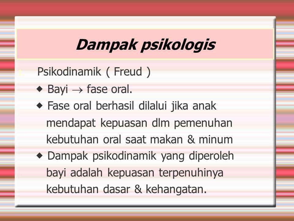 Dampak psikologis Psikodinamik ( Freud )  Bayi  fase oral.