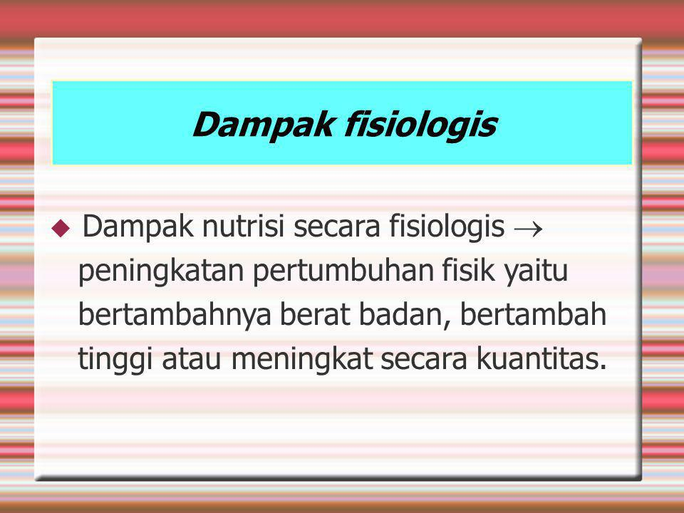Dampak fisiologis Dampak nutrisi secara fisiologis 