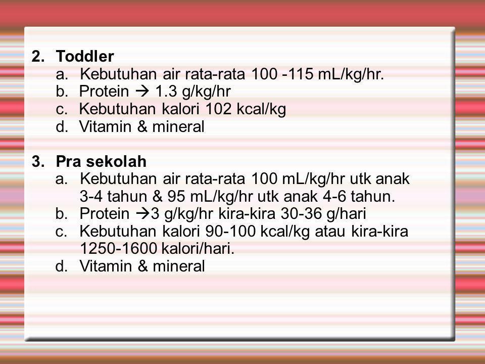 Toddler Kebutuhan air rata-rata 100 -115 mL/kg/hr. Protein  1.3 g/kg/hr. Kebutuhan kalori 102 kcal/kg.