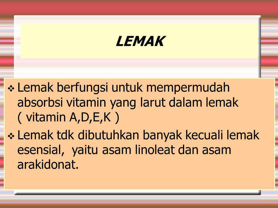 LEMAK Lemak berfungsi untuk mempermudah absorbsi vitamin yang larut dalam lemak ( vitamin A,D,E,K )