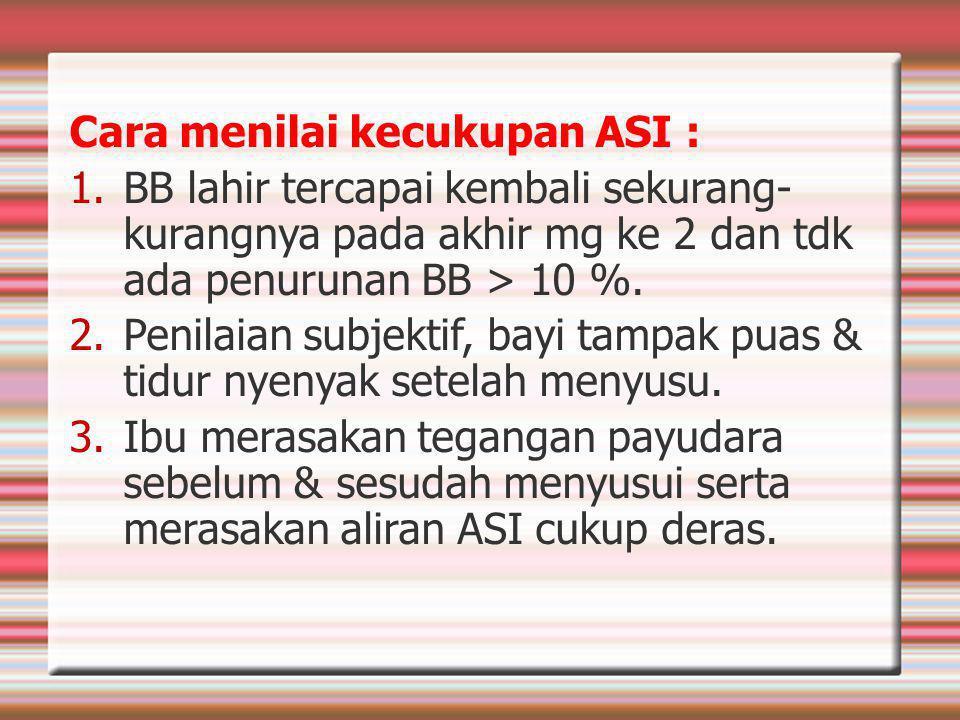 Cara menilai kecukupan ASI :