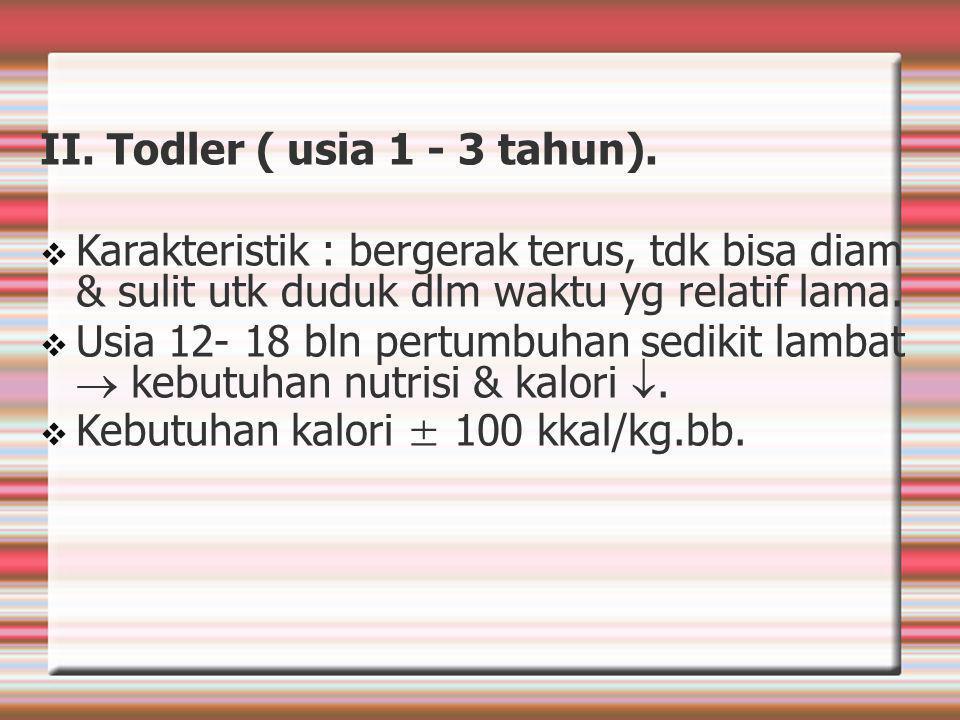 II. Todler ( usia 1 - 3 tahun).