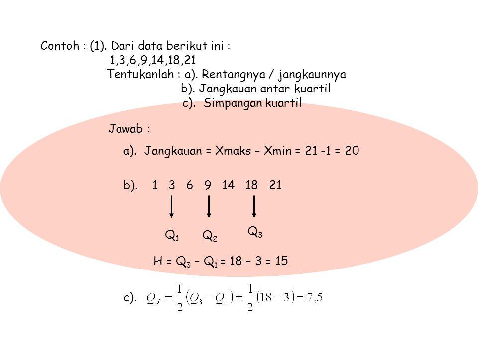 Contoh : (1). Dari data berikut ini :. 1,3,6,9,14,18,21