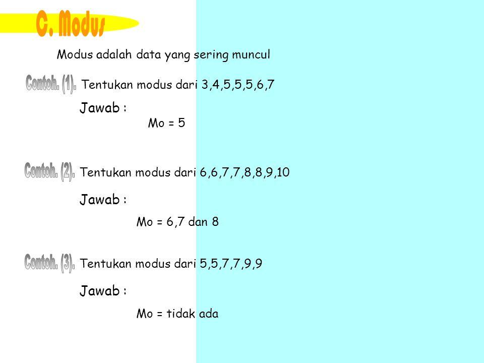 C. Modus Contoh. (1). Contoh. (2). Contoh. (3). Jawab : Jawab :