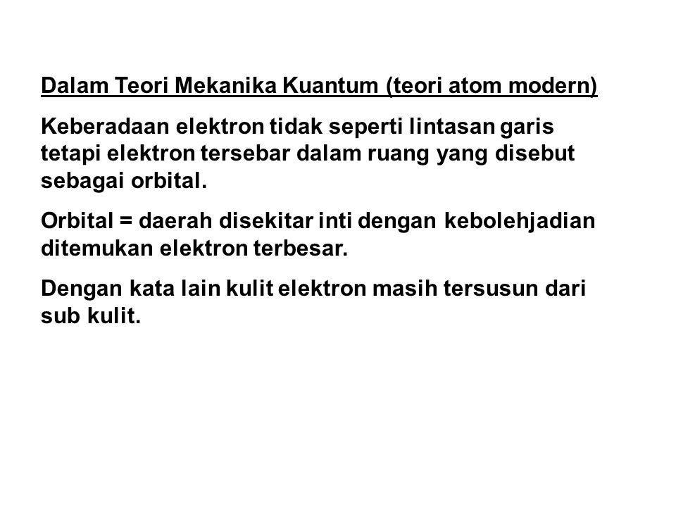Dalam Teori Mekanika Kuantum (teori atom modern)