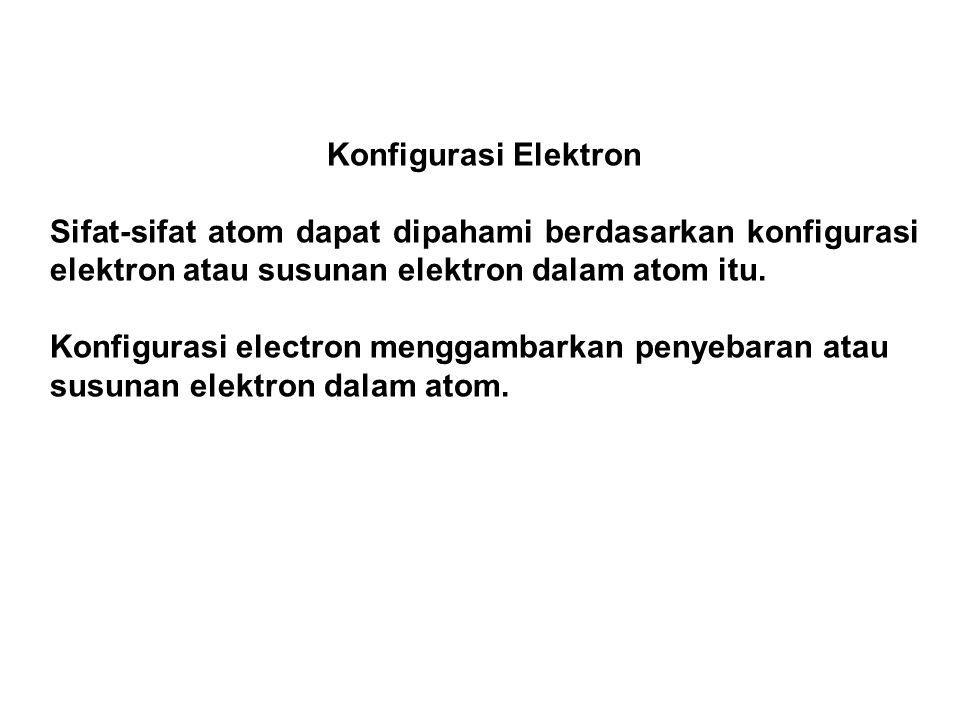Konfigurasi Elektron Sifat-sifat atom dapat dipahami berdasarkan konfigurasi elektron atau susunan elektron dalam atom itu.