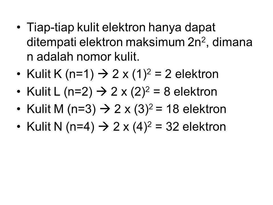 Tiap-tiap kulit elektron hanya dapat ditempati elektron maksimum 2n2, dimana n adalah nomor kulit.