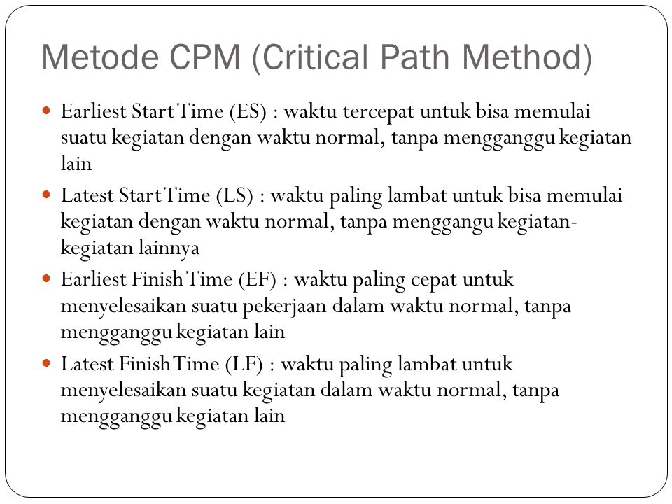 Metode CPM (Critical Path Method)