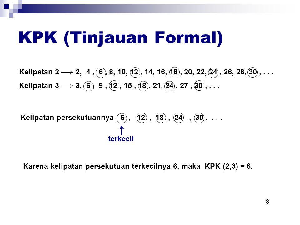 KPK (Tinjauan Formal) Kelipatan 2 2, 4 , 6 , 8, 10, 12 , 14, 16, 18 , 20, 22, 24 , 26, 28, 30 , . . .