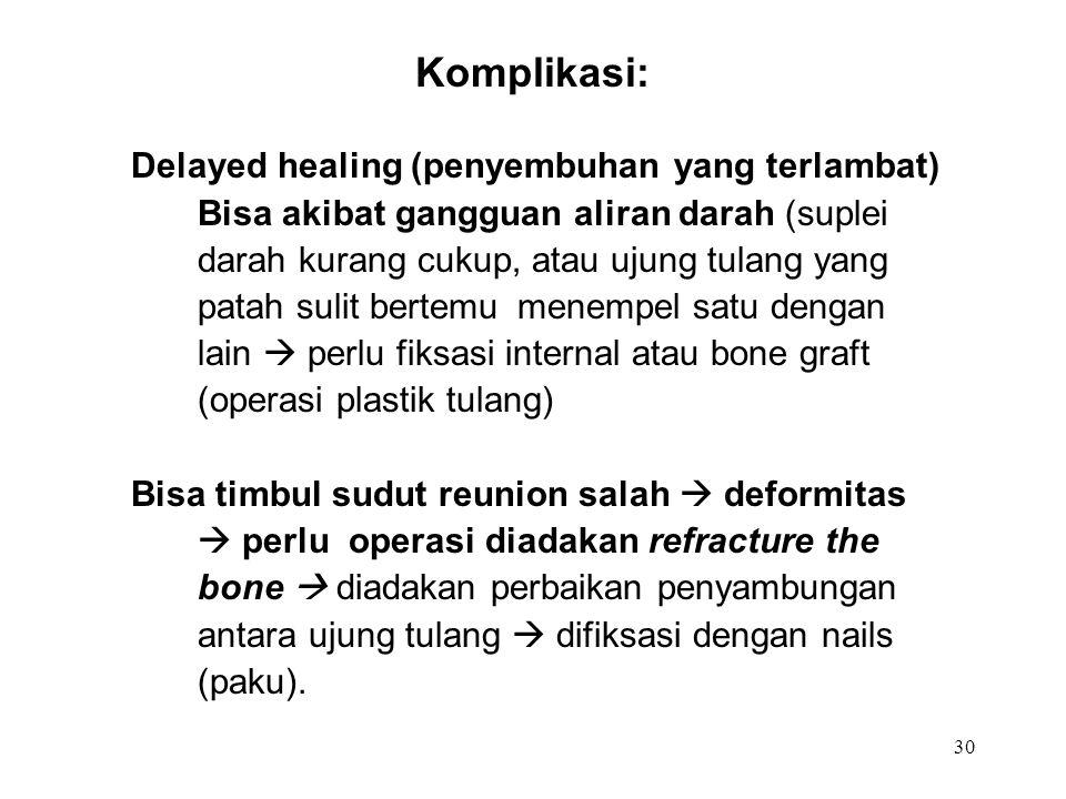 Komplikasi: Delayed healing (penyembuhan yang terlambat)