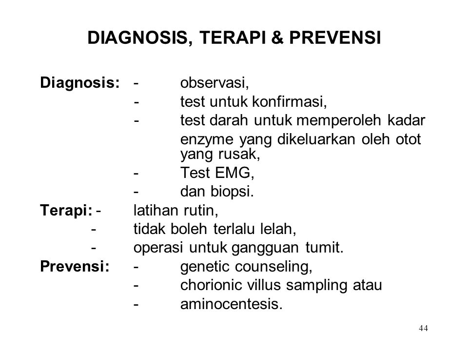 DIAGNOSIS, TERAPI & PREVENSI