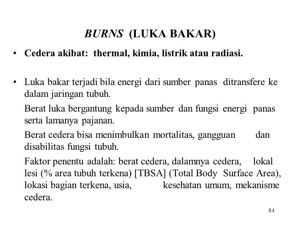 BURNS (LUKA BAKAR) Cedera akibat: thermal, kimia, listrik atau radiasi.