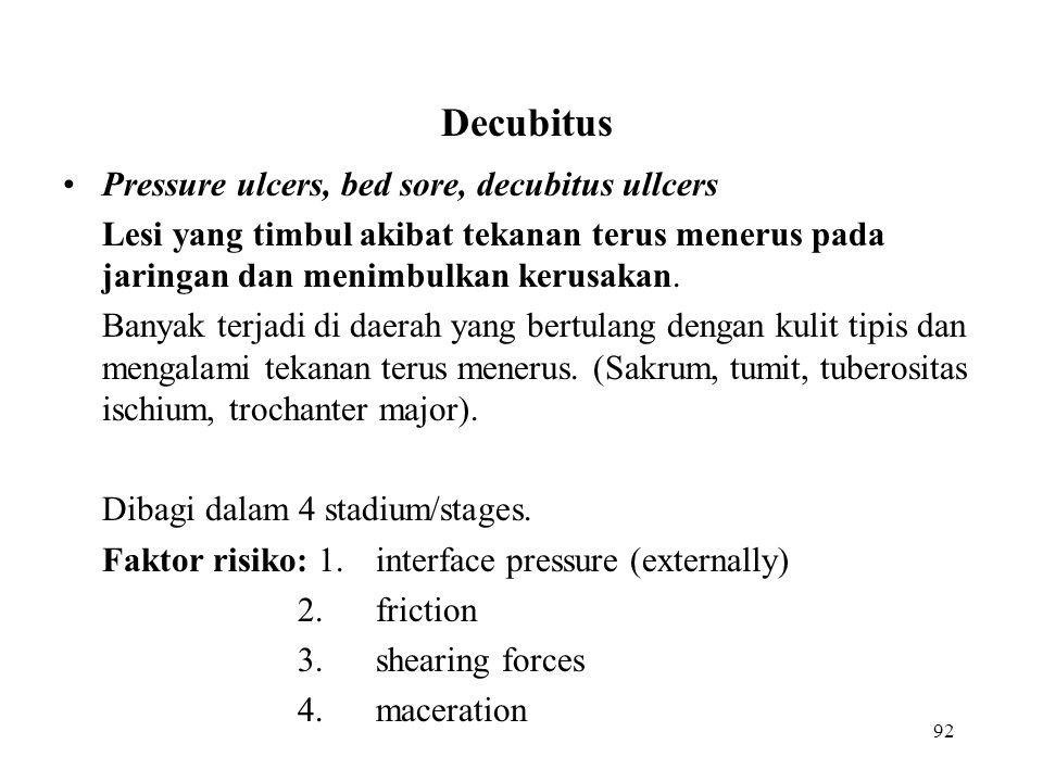 Decubitus Pressure ulcers, bed sore, decubitus ullcers