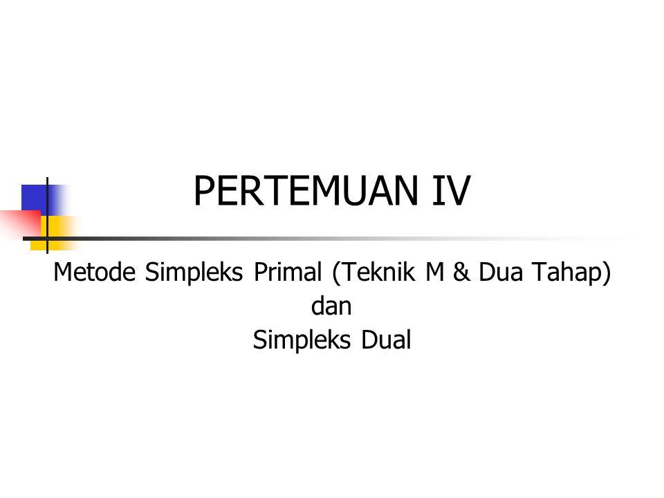 Metode Simpleks Primal (Teknik M & Dua Tahap) dan Simpleks Dual