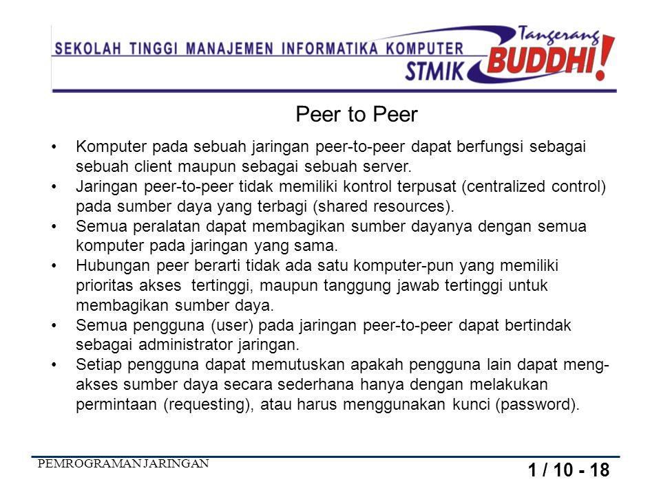 Peer to Peer Komputer pada sebuah jaringan peer-to-peer dapat berfungsi sebagai sebuah client maupun sebagai sebuah server.