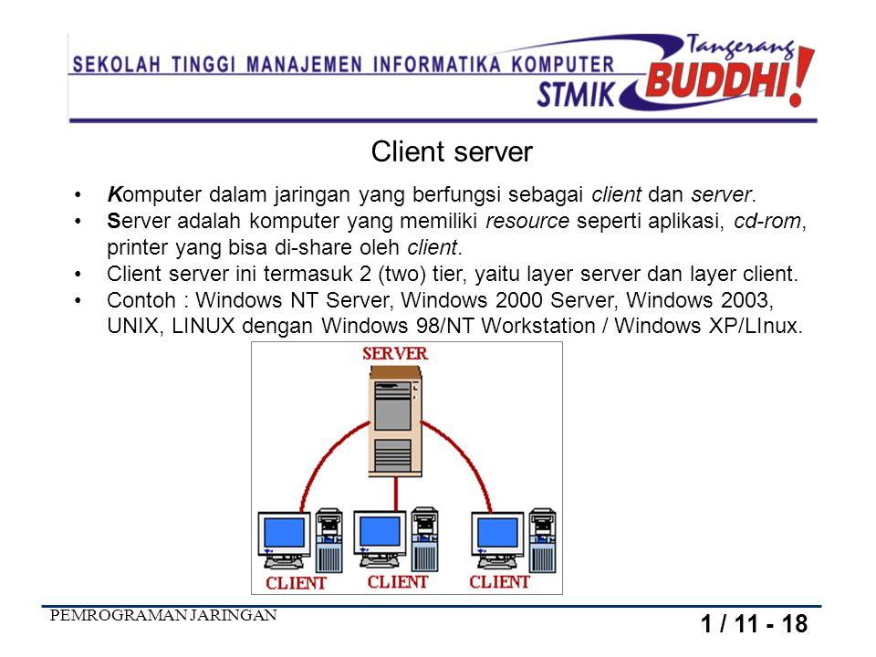 Client server Komputer dalam jaringan yang berfungsi sebagai client dan server.