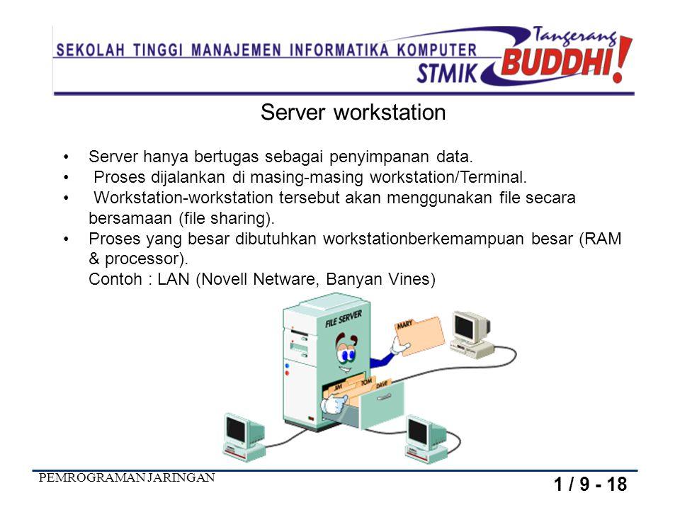 Server workstation Server hanya bertugas sebagai penyimpanan data. Proses dijalankan di masing-masing workstation/Terminal.
