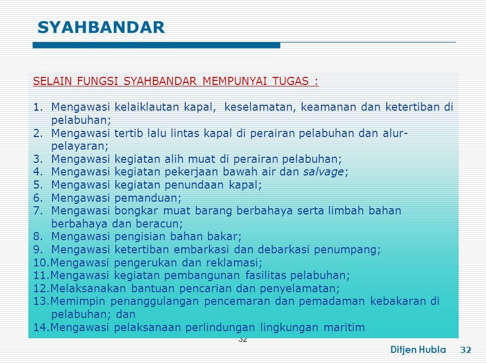 SYAHBANDAR SELAIN FUNGSI SYAHBANDAR MEMPUNYAI TUGAS :