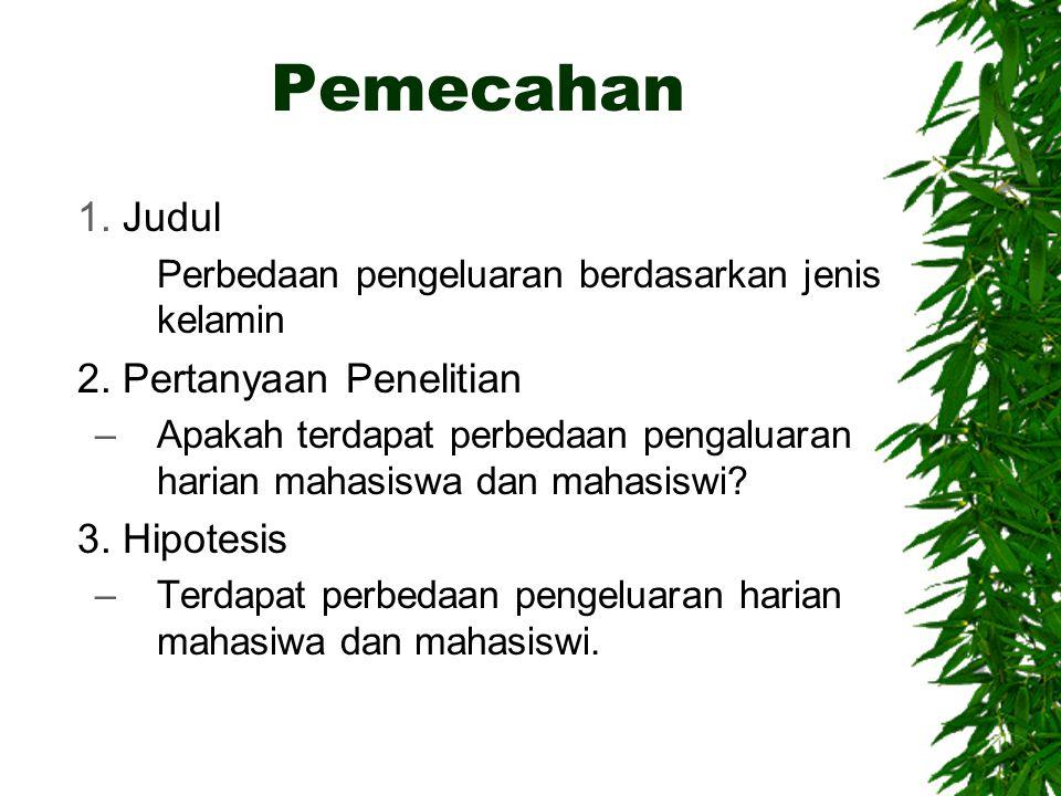 Pemecahan Judul 2. Pertanyaan Penelitian 3. Hipotesis