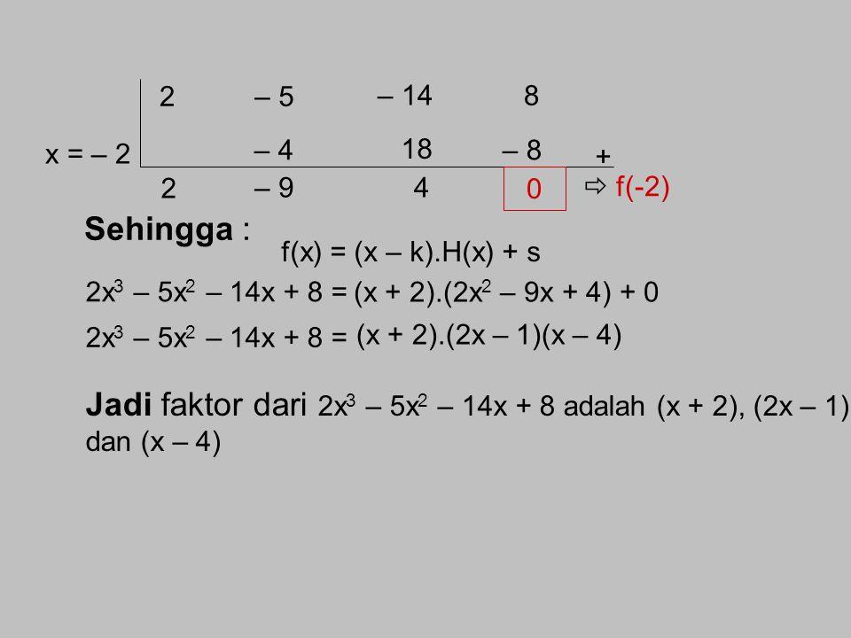 2 – 5. – 14. 8. 18. x = – 2. – 4. – 8. + 2. – 9. 4.  f(-2) Sehingga : f(x) = (x – k).H(x) + s.