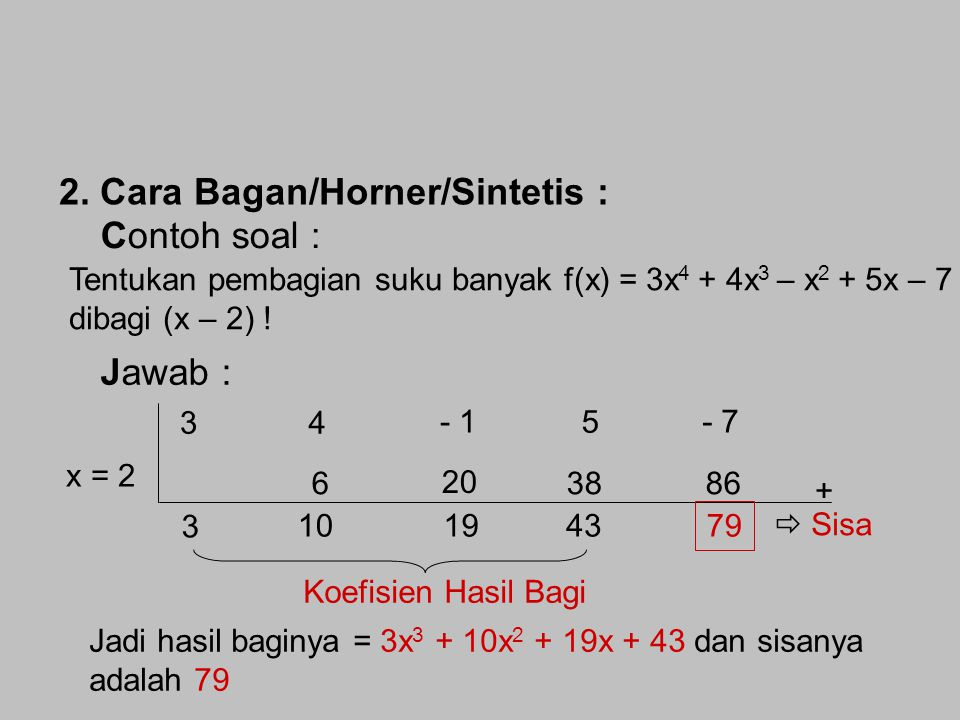 2. Cara Bagan/Horner/Sintetis : Contoh soal :