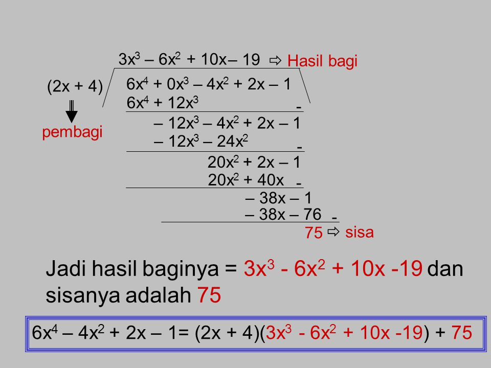 Jadi hasil baginya = 3x3 - 6x2 + 10x -19 dan sisanya adalah 75