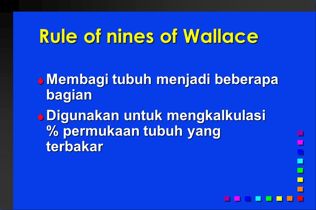Rule of nines of Wallace