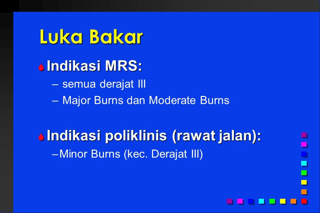 Luka Bakar Indikasi MRS: Indikasi poliklinis (rawat jalan):
