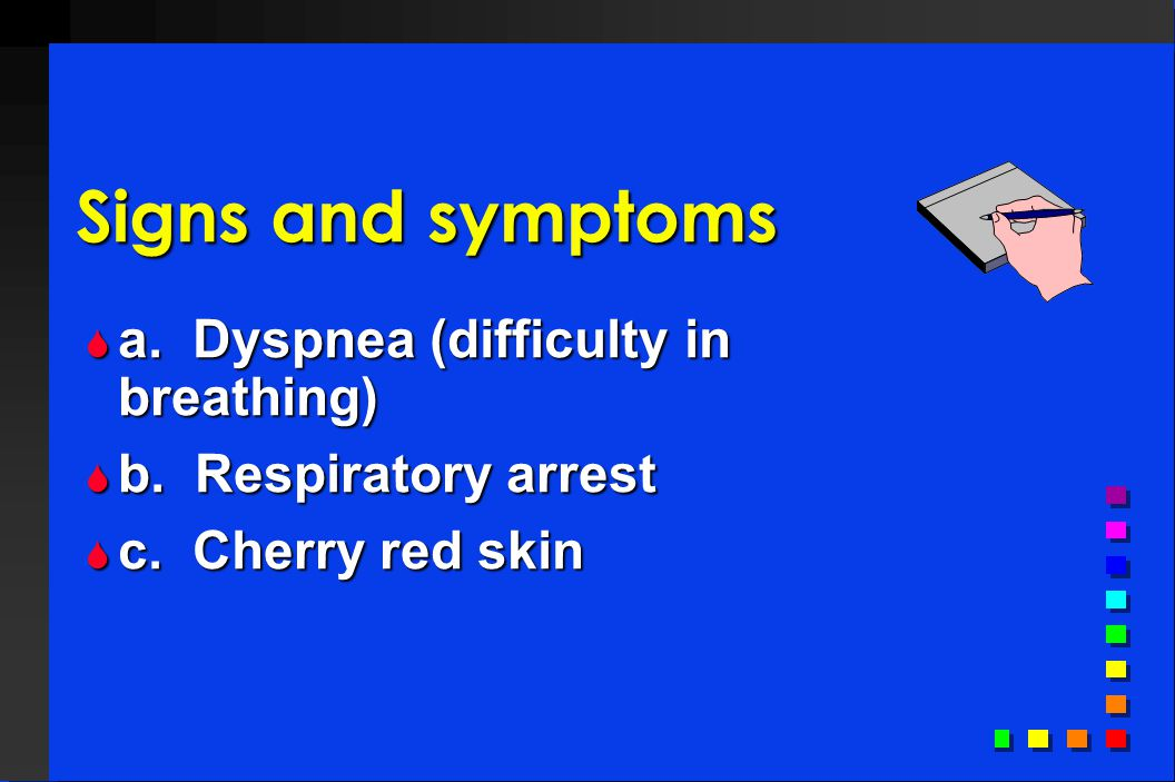 Signs and symptoms a. Dyspnea (difficulty in breathing)