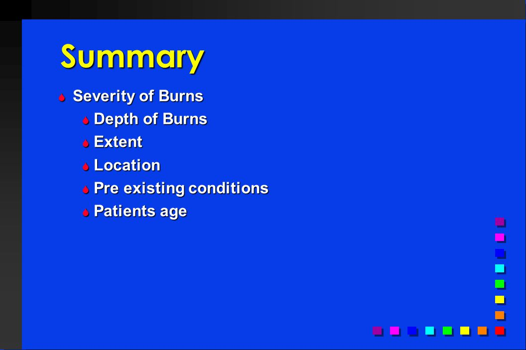 Summary Severity of Burns Depth of Burns Extent Location