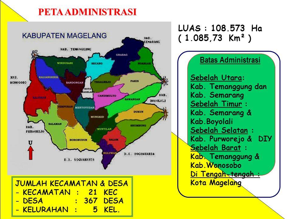 PETA ADMINISTRASI LUAS : 108.573 Ha ( 1.085,73 Km² )