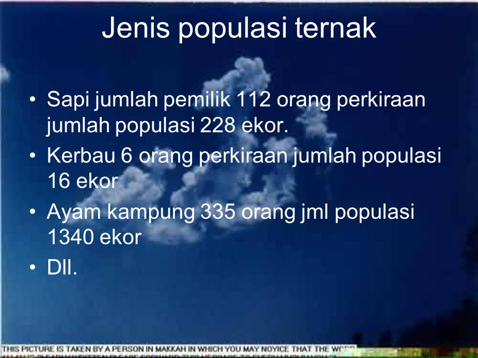 Jenis populasi ternak Sapi jumlah pemilik 112 orang perkiraan jumlah populasi 228 ekor. Kerbau 6 orang perkiraan jumlah populasi 16 ekor.