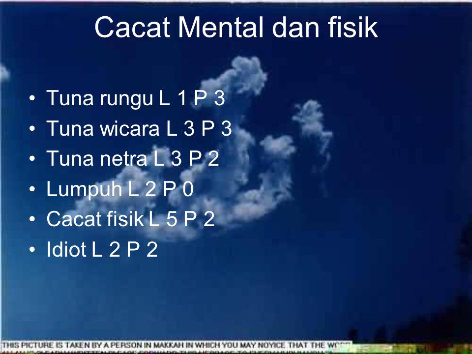 Cacat Mental dan fisik Tuna rungu L 1 P 3 Tuna wicara L 3 P 3