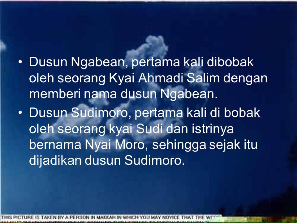 Dusun Ngabean, pertama kali dibobak oleh seorang Kyai Ahmadi Salim dengan memberi nama dusun Ngabean.