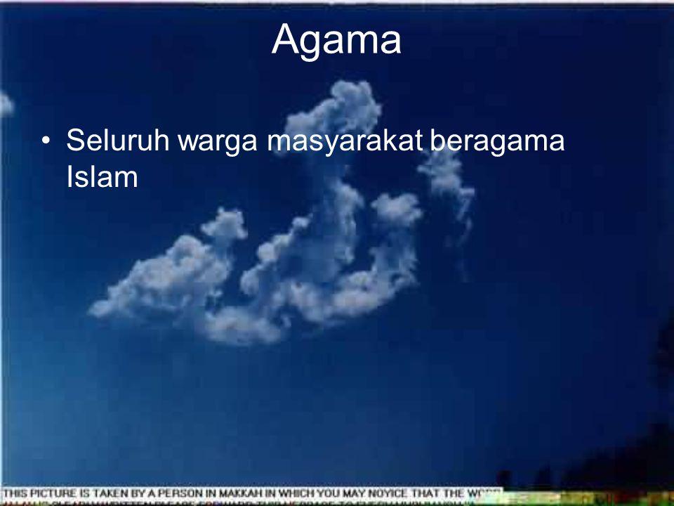 Agama Seluruh warga masyarakat beragama Islam